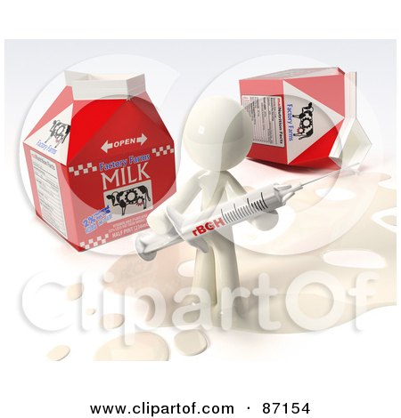 Royalty-Free (RF) Clipart Illustration of a 3d White Man Standing In Milk By Cartons, Holding A Rbgh Injection Syringe by Leo Blanchette