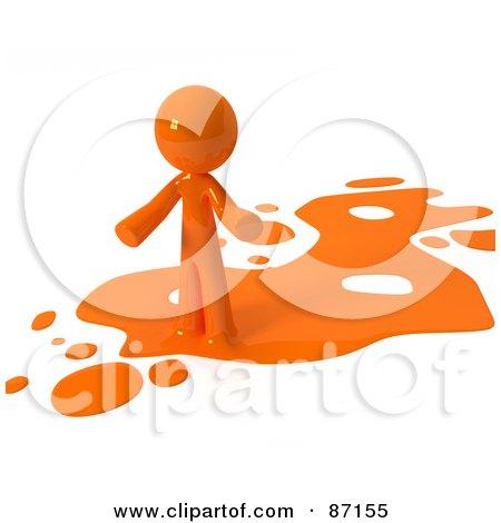 3d Orange Man Standing On An Orange Liquid Spill Posters, Art Prints