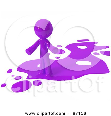 Royalty-Free (RF) Clipart Illustration of a 3d Purple Man Standing On A Purple Liquid Spill by Leo Blanchette