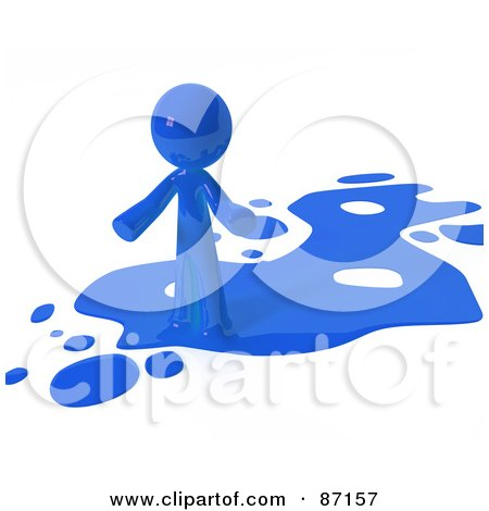 Royalty-Free (RF) Clipart Illustration of a 3d Blue Man Standing On A Blue Liquid Spill by Leo Blanchette