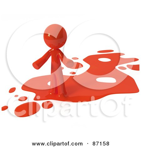 Royalty-Free (RF) Clipart Illustration of a 3d Red Man Standing On A Red Liquid Spill by Leo Blanchette