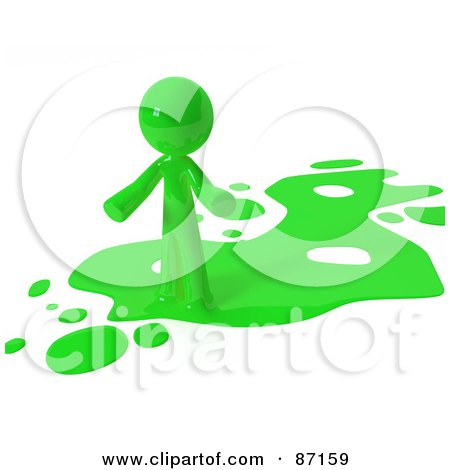 Royalty-Free (RF) Clipart Illustration of a 3d Green Man Standing On A Green Liquid Spill by Leo Blanchette