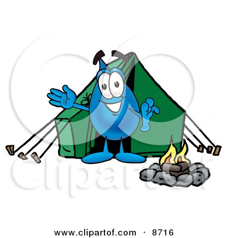 Water Drop Mascot Cartoon Character Camping With a Tent and Fire Posters, Art Prints