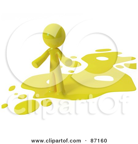 Royalty-Free (RF) Clipart Illustration of a 3d Yellow Man Standing On A Yellow Liquid Spill by Leo Blanchette