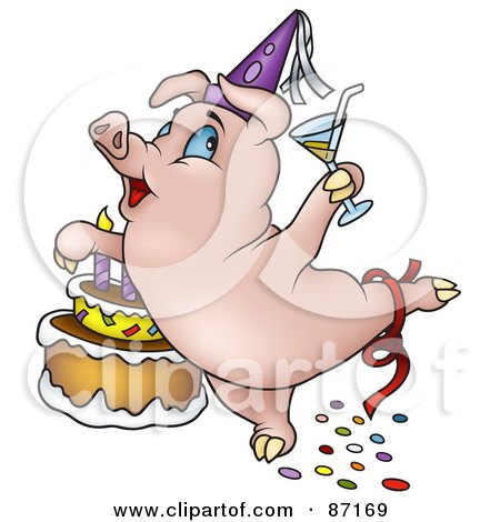 Royalty-Free (RF) Clipart Illustration of a Birthday Pig Dancing By A Cake by dero