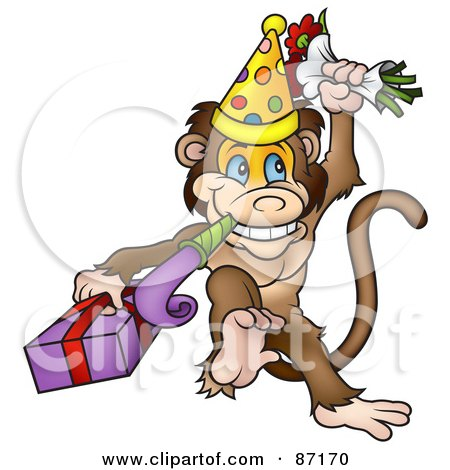 Royalty-Free (RF) Clipart Illustration of a Birthday Monkey With A Noise Maker, Flowers And A Gift by dero
