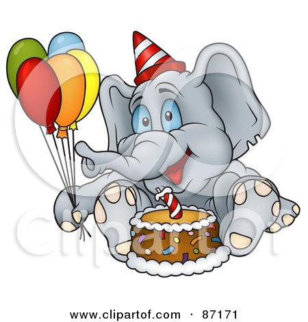 Royalty-Free (RF) Clipart Illustration of a Birthday Elephant Sitting By A Cake And Holding Balloons by dero