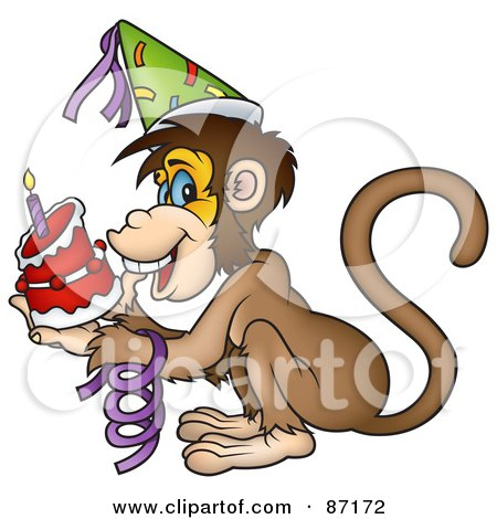 Royalty-Free (RF) Clipart Illustration of a Birthday Monkey Holding A Cake by dero