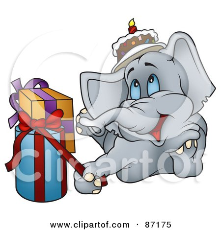 Royalty-Free (RF) Clipart Illustration of a Happy Birthday Elephant Laying By Presents by dero