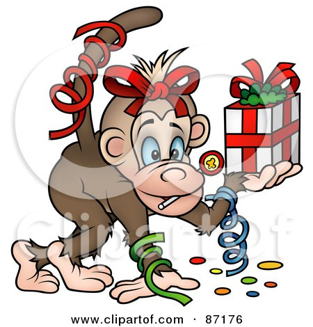 Royalty-Free (RF) Clipart Illustration of a Birthday Monkey With Confetti And A Gift by dero