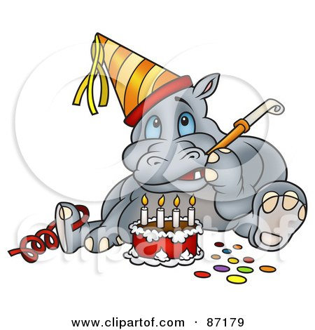 *****HAPPY BIRTHDAY FLIMMY!!!!!!!!****** 87179-Royalty-Free-RF-Clipart-Illustration-Of-A-Birthday-Hippo-Sitting-By-A-Cake-And-Using-A-Noise-Maker