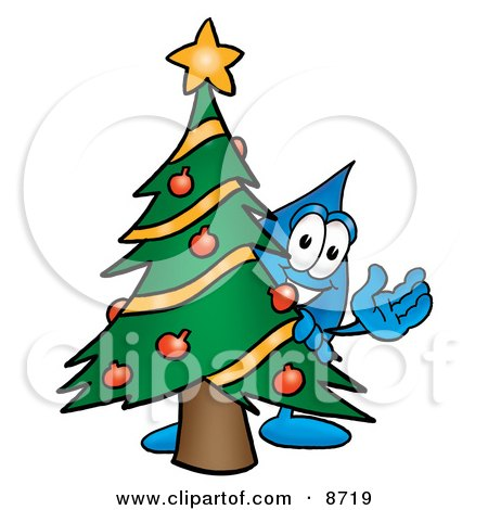 Water Drop Mascot Cartoon Character Waving and Standing by a Decorated Christmas Tree Posters, Art Prints