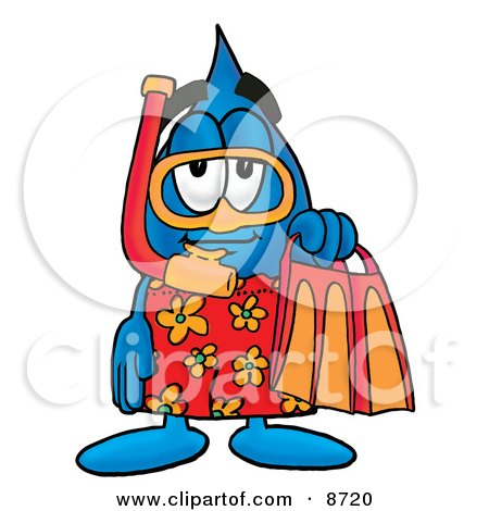 Clipart Picture of a Water Drop Mascot Cartoon Character in Orange and Red Snorkel Gear by Toons4Biz