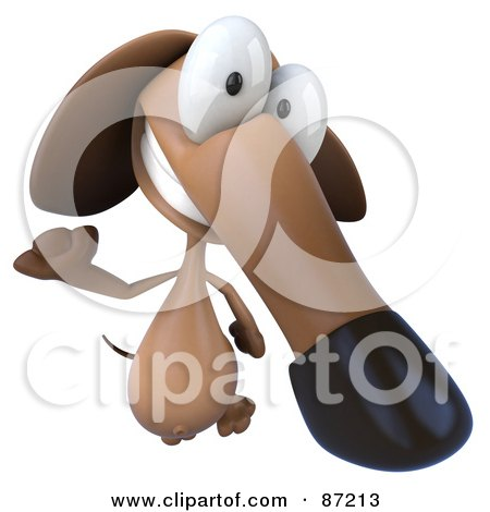 Royalty-Free (RF) Clipart Illustration of a 3d Brown Pookie Wiener Dog Character Leaping - Version 1 by Julos