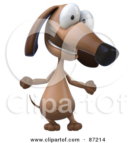 Royalty-Free (RF) Clipart Illustration of a 3d Brown Pookie Wiener Dog Character Talking by Julos