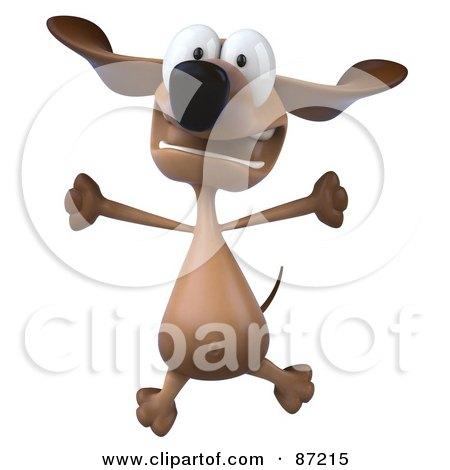 3d Brown Pookie Wiener Dog Character Leaping - Version 2 Posters, Art Prints