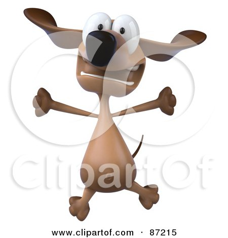 Royalty-Free (RF) Clipart Illustration of a 3d Brown Pookie Wiener Dog Character Leaping - Version 2 by Julos