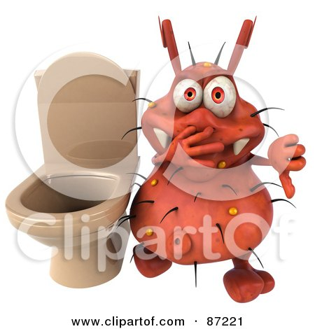 Royalty-Free (RF) Clipart Illustration of a 3d Rodney Germ Character By A Stinky Toilet by Julos