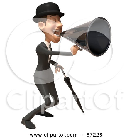 Royalty-Free (RF) Clipart Illustration of a 3d White Corporate Businessman Character Using A Megaphone - Version 2 by Julos