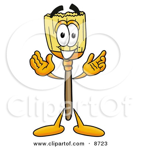 Clipart Picture of a Broom Mascot Cartoon Character With Welcoming Open Arms by Toons4Biz
