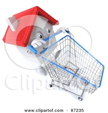 Royalty-Free (RF) Clipart Illustration of a 3d White Clay Home Character Pushing A Shopping Cart - Version 1 by Julos