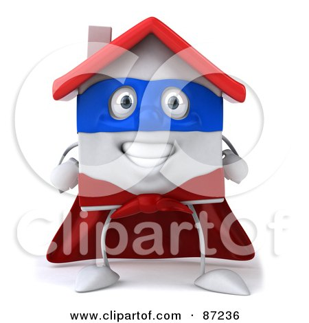 Royalty-Free (RF) Clipart Illustration of a 3d White Clay Home Character With A Superhero Cape by Julos