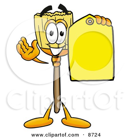 Clipart Picture of a Broom Mascot Cartoon Character Holding a Yellow Sales Price Tag by Toons4Biz