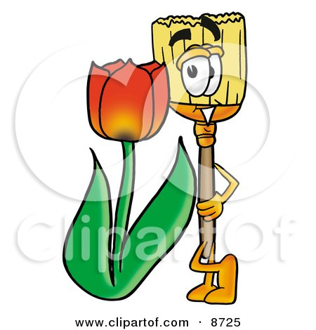 Broom Mascot Cartoon Character With a Red Tulip Flower in the Spring Posters, Art Prints