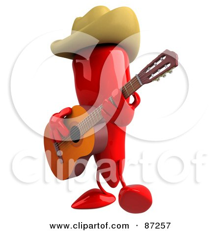 Royalty-Free (RF) Clipart Illustration of a 3d Red Chili Pepper Character Facing Left And Playing Country Music by Julos