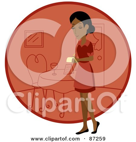 Royalty-Free (RF) Clipart Illustration of an Indian Waitress Woman Standing By A Red Circle With A Table by Rosie Piter