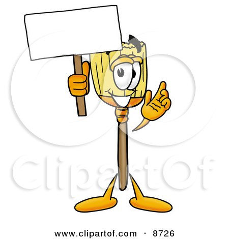 Clipart Picture of a Broom Mascot Cartoon Character Holding a Blank Sign by Toons4Biz