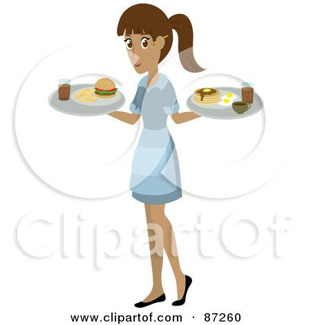 Royalty-Free (RF) Clipart Illustration of a Hispanic Waitress Woman Serving A Burger And Pancakes And Eggs by Rosie Piter