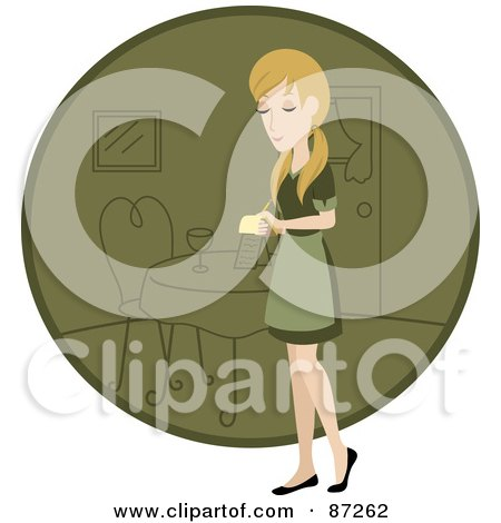 Royalty-Free (RF) Clipart Illustration of a Blond Waitress Woman Standing By A Green Circle With A Table by Rosie Piter
