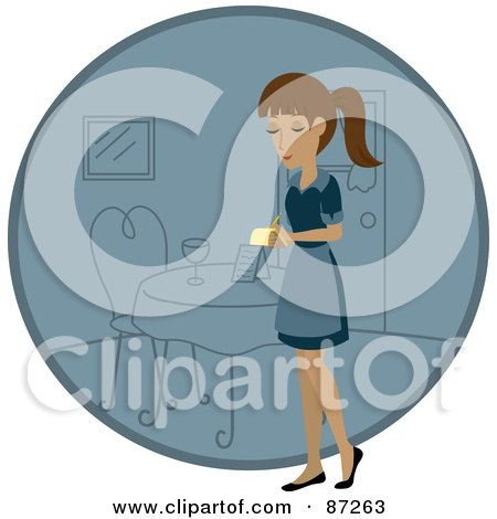 Royalty-Free (RF) Clipart Illustration of a Hispanic Waitress Woman Standing By A Blue Circle With A Table by Rosie Piter
