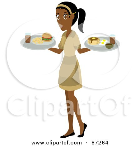 Royalty-Free (RF) Clipart Illustration of an Indian Waitress Woman Serving A Burger And Pancakes And Eggs by Rosie Piter