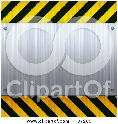 Royalty-Free (RF) Clipart Illustration of a Blank Brushed Metal Plaque Bordered With Black And Yellow Hazard Stripes by Arena Creative