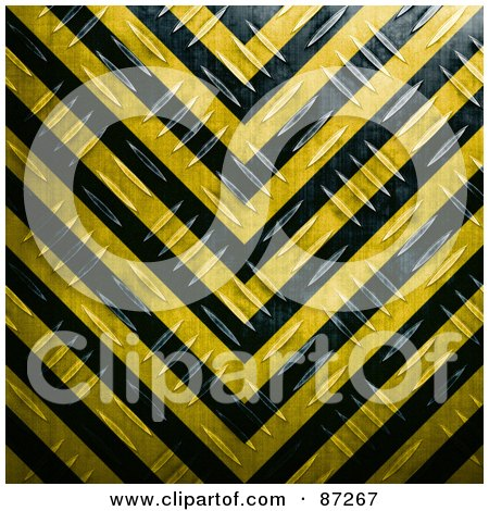 Royalty-Free (RF) Clipart Illustration of a Black And Yellow Diamond Plate Hazard Stripes Background by Arena Creative