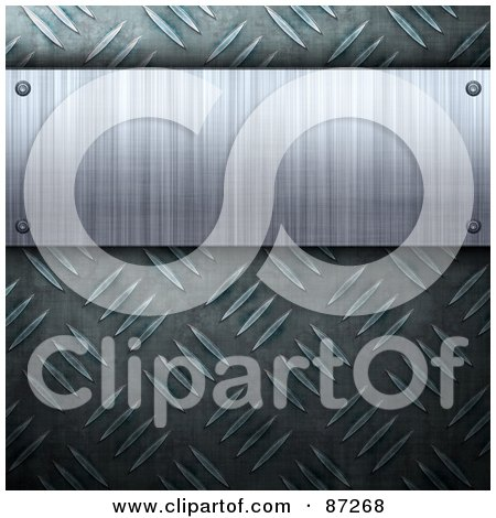 Royalty-Free (RF) Clipart Illustration of a Brushed Metal Plaque Over A Diamond Plate Background by Arena Creative