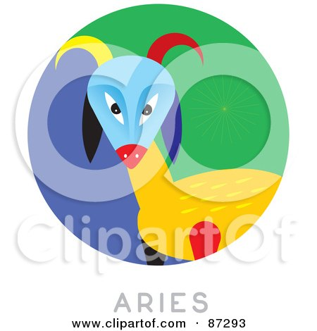 Royalty-Free (RF) Clipart Illustration of a Circular Aries Astrology Scene by Venki Art