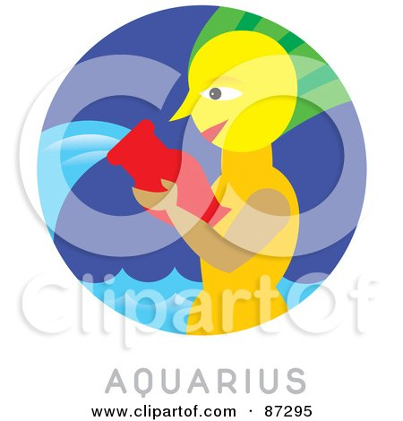 Royalty-Free (RF) Clipart Illustration of a Circular Aquarius Astrology Scene by Venki Art