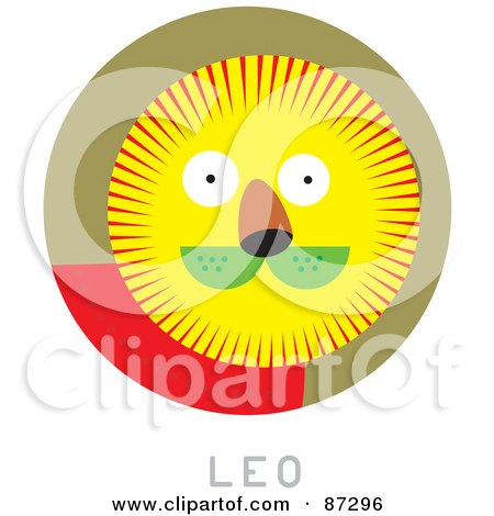 Royalty-Free (RF) Clipart Illustration of a Circular Leo Astrology Scene by Venki Art