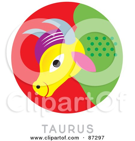 Royalty-Free (RF) Clipart Illustration of a Circular Taurus Astrology Scene by Venki Art