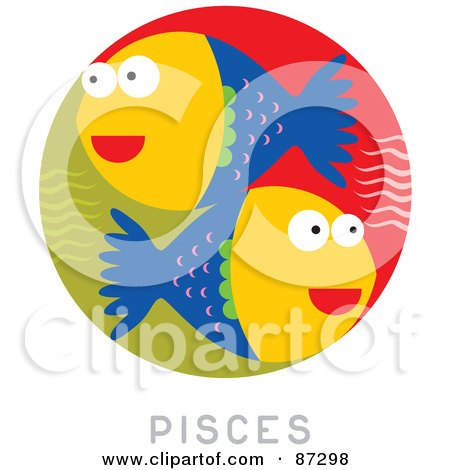 Royalty-Free (RF) Clipart Illustration of a Circular Pisces Astrology Scene by Venki Art