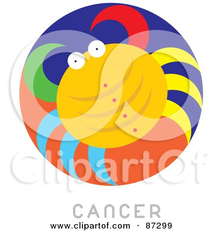 Royalty-Free (RF) Clipart Illustration of a Circular Cancer Astrology Scene by Venki Art