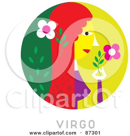 Royalty-Free (RF) Clipart Illustration of a Circular Virgo Astrology Scene by Venki Art