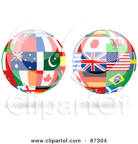 Royalty-Free (RF) Clipart Illustration of a Digital Collage Of Floating Shiny Globe Of International Flags - Version 2 by elaineitalia