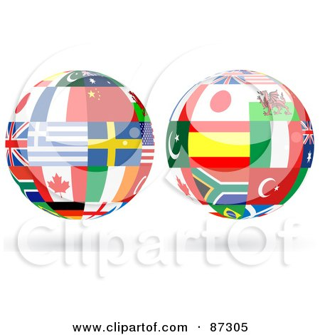 Royalty-Free (RF) Clipart Illustration of a Digital Collage Of Floating Shiny Globe Of International Flags - Version 1 by elaineitalia