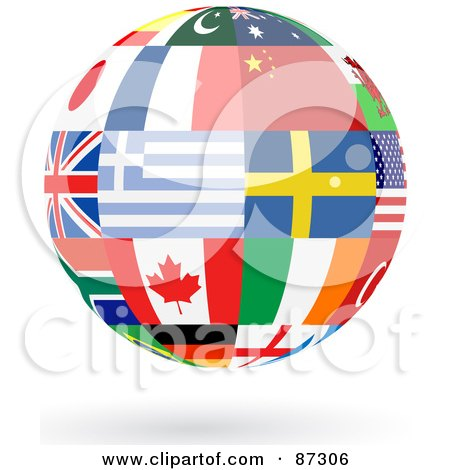 Royalty-Free (RF) Clipart Illustration of a Floating Shiny Globe Of Greece, Sweden, Canada And Other Flags by elaineitalia