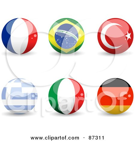 Royalty-Free (RF) Clipart Illustration of a Digital Collage Of Shiny 3d France, Brazil, Turkey, Greece, Italy And Germany Spheres by elaineitalia