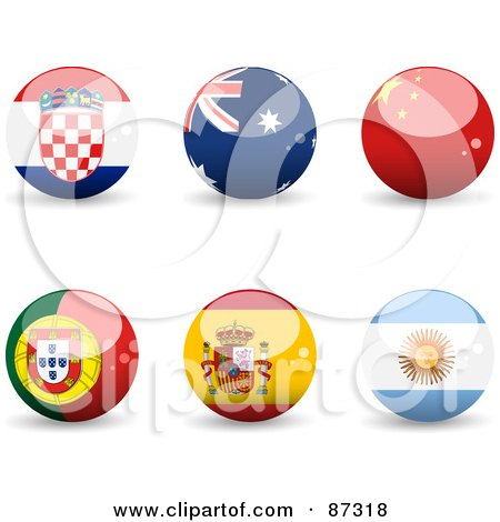 Royalty-Free (RF) Clipart Illustration of a Digital Collage Of Shiny 3d Croatia, Australia, China, Portugal, Spain And Argentina Spheres by elaineitalia